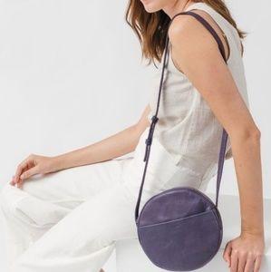 Baggu Leather Crossbody Circle Bag Purple Purse